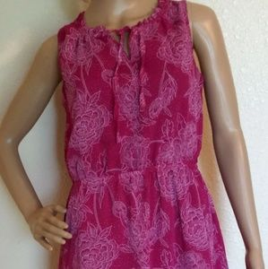 Merona Pink White Floral mini dress